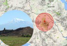 Mount Ararat is located near the border between Armenia and Turkey. Insert: Image of Mount Ararat.
