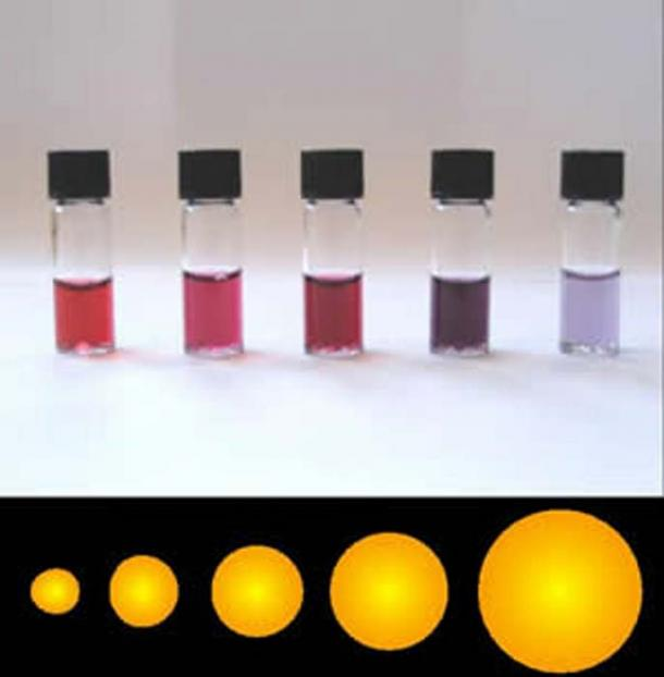 Une solution contenant différentes quantités de nanoparticules d'or.