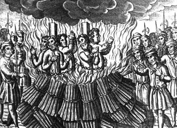 Représentation de l'incendie des Cathares par l'Inquisition papale dans le Languedoc à la fin du 12e et au début du 13e siècle