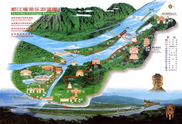 Carte de visite du système d'irrigation de Dujiangyan
