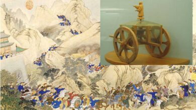 Main: A scene of the Qing dynasty campaign against the Miao (Hunan) 1795 (public domain). Inset: Model of a Chinese South Pointing Chariot, an early navigational device using a differential gear.
