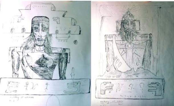 Les dessins de M. Brewer des momies masculines et féminines trouvées dans la grotte de Brewer. (Terry Carter / YouTube)