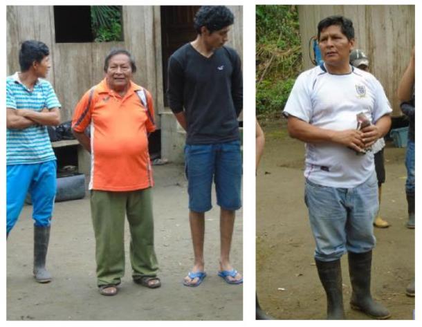 Les chefs de la communauté Tayu Jee, Don Luis Canillas (à gauche, sous la direction d'autres membres de la communauté) et Don Antonio Canillas (à droite). Crédits photos : l'auteur (2016).