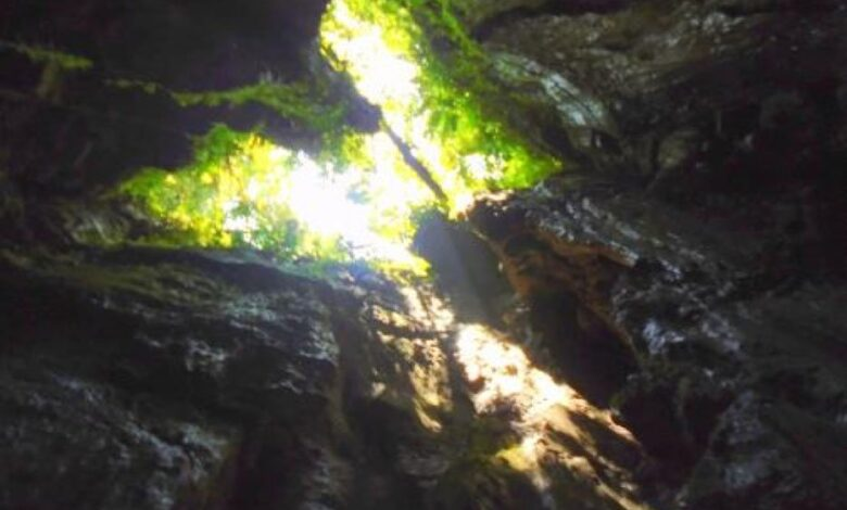 The open chamber near the first descent in the Tayu Jee branch of the Tayos Caves.