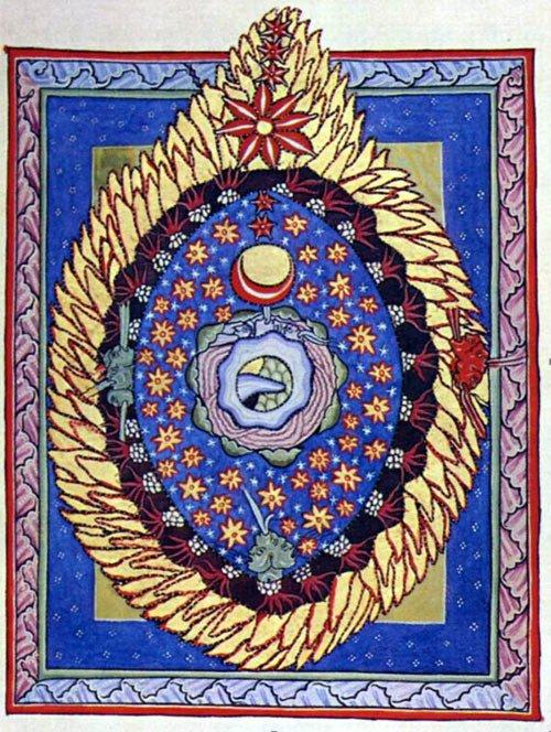 Illustration représentant l'œuf cosmique ardent