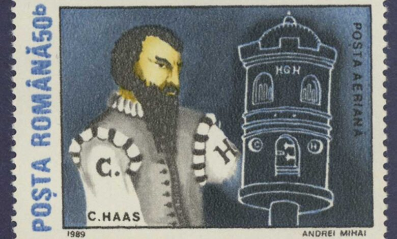 Romanian Postage stamp design 1989 with Conrad Hass, Austrian military engineer with an early rocket design.