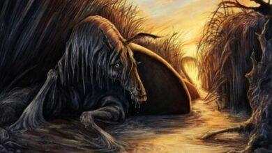 A representation of a kelpie, a sea horse more vicious than the hippocampus.