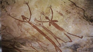 Ancient Aboriginal drawings of mythical quinkins/yowies. Laura, Australia.