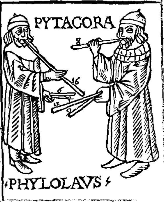 Pythagore et Philolaus expérimentent la cornemuse musicale. D'après Theorica musicae de Franchino Gaffurio, 1492. (Domaine public)