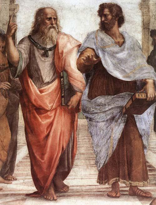 En vieil homme, Platon (à gauche) et Aristote (à droite), un détail de L'École d'Athènes, une fresque de Raphaël. (Domaine public)
