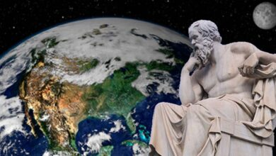 The Statue of Socrates at the Academy of Athens. Work of Leonidas Drosis (d. 1880). (C messier/CC BY SA 4.0) Background: This NASA image shows Earth from space. The image is a combination of data from two satellites.