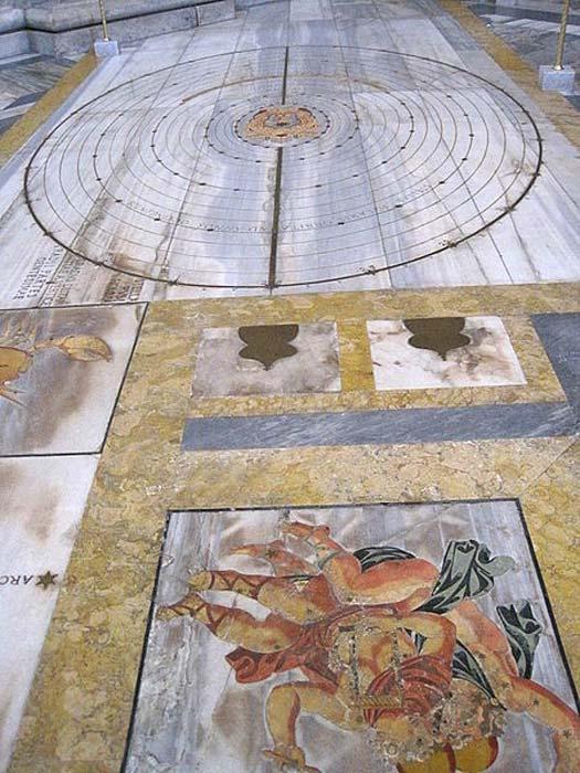 Ligne solaire méridienne de la basilique Santa Maria degli Angeli e dei Martiri à Rome construite par Francesco Bianchini (1702)