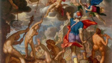 The Battle between the Gods and the Titans by Joachim Wtewael. The beginning of the Greek Gods