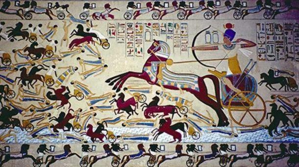 Peinture de chariot Hyksos. Les Égyptiens ont trouvé un moyen de contourner la difficulté de rester à cheval en utilisant des chars.