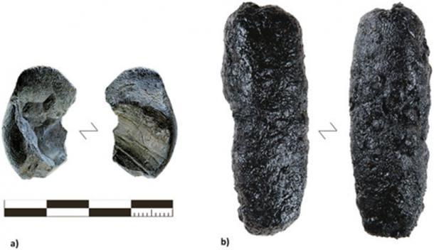 (A) Le plus grand des deux morceaux de goudron trouvés à Königsaue (crédit photo : Landesamt für Denkmalpflege und Archäologie Sachsen-Anhalt, Juraj Lipták) comparé à (B) le rendement maximum de goudron produit avec la méthode de la structure surélevée (RS 7).