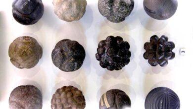 Figure 1. Geometric stone spheres. (Photo Credit: Martin Morrison, taken at Hunterian Museum, Glasgow)