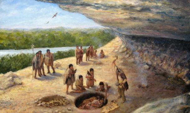 Illustration de paléoindiens chassant un glyptodon, un animal supposé avoir été amené à l'extinction par l'arrivée des anciens humains en Amérique du Sud (1920) Heinrich Harde