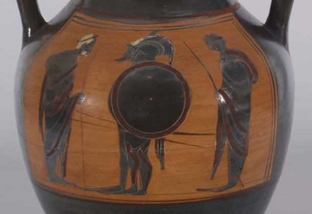 Ce vase peut représenter la scène commune de départ de deux guerriers en armure quittant leur foyer pour la guerre, ou il peut représenter une scène célèbre de