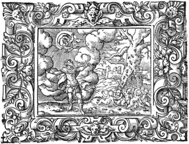 Myrmidons ; peuple de fourmis pour le roi Aeacus. Gravure de Virgil Solis pour les Métamorphoses d'Ovide Livre VII, 622-642. (Domaine public)