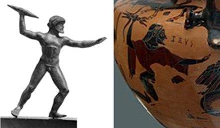 Figure 3. A gauche : Zeus est représenté avec une barre ressemblant à un coup de foudre. A droite : Zeus tient un foudre dont les extrémités sont évasées en trois branches.