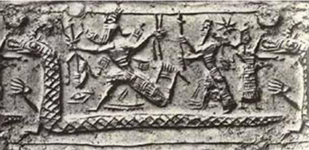 Figure 4. Marduk représenté avec un sceptre à trois pointes