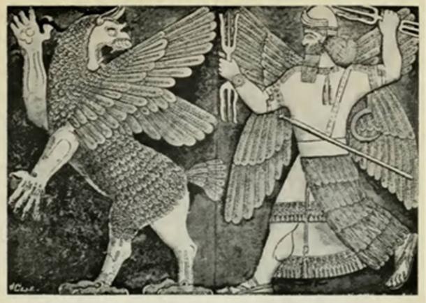 Figure 5. Marduk combattant Tiamat avec l'arme à trois dents