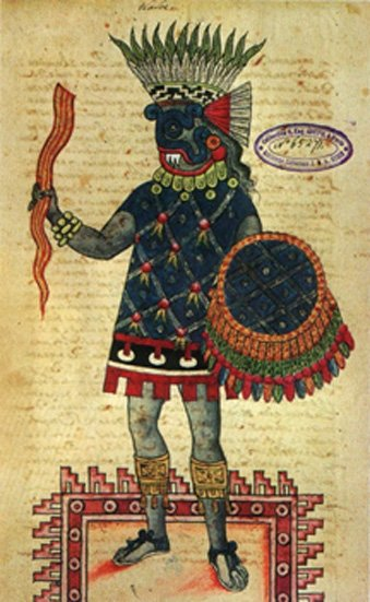 Figure 6. Le dieu aztèque Tlaloc représenté portant une hache de foudre