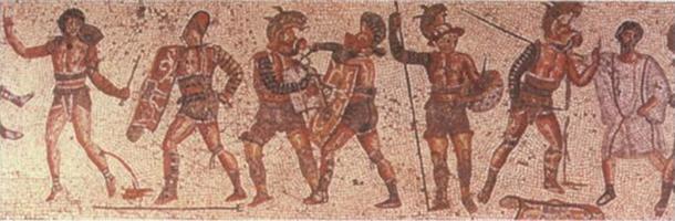 La mosaïque Zliten présente différents types de gladiateurs avec leur armure et leurs armes. (Domaine public)