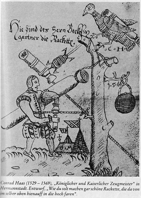 Description d'une fusée par Conrad Haas, un maître artilleur allemand.