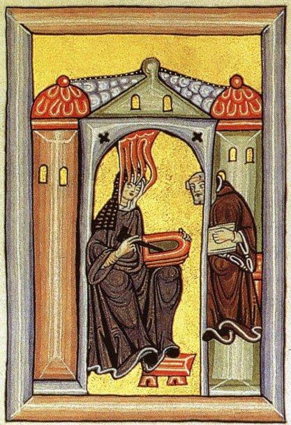 Sainte Hildegarde dans sa cellule de méditation