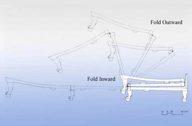 Le lit du roi Tut replié en forme de Z, grâce à un ingénieux mécanisme (Crédit : Naoko Nishimoto)