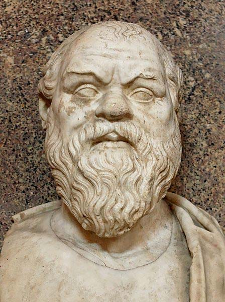 Buste de Socrate. Marbre, copie romaine d'après un original grec du IVe siècle avant J.-C. Provenant de la villa Quintili sur la Via Appia. (Domaine public)