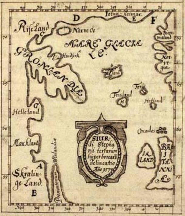 La carte de Skálholt réalisée par l'enseignant islandais Sigurd Stefansson en 1570. Helleland (